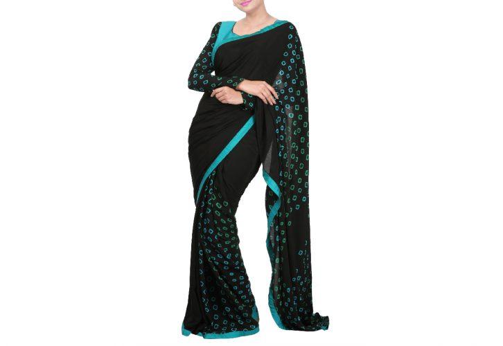 Black bandhini saree and blouse