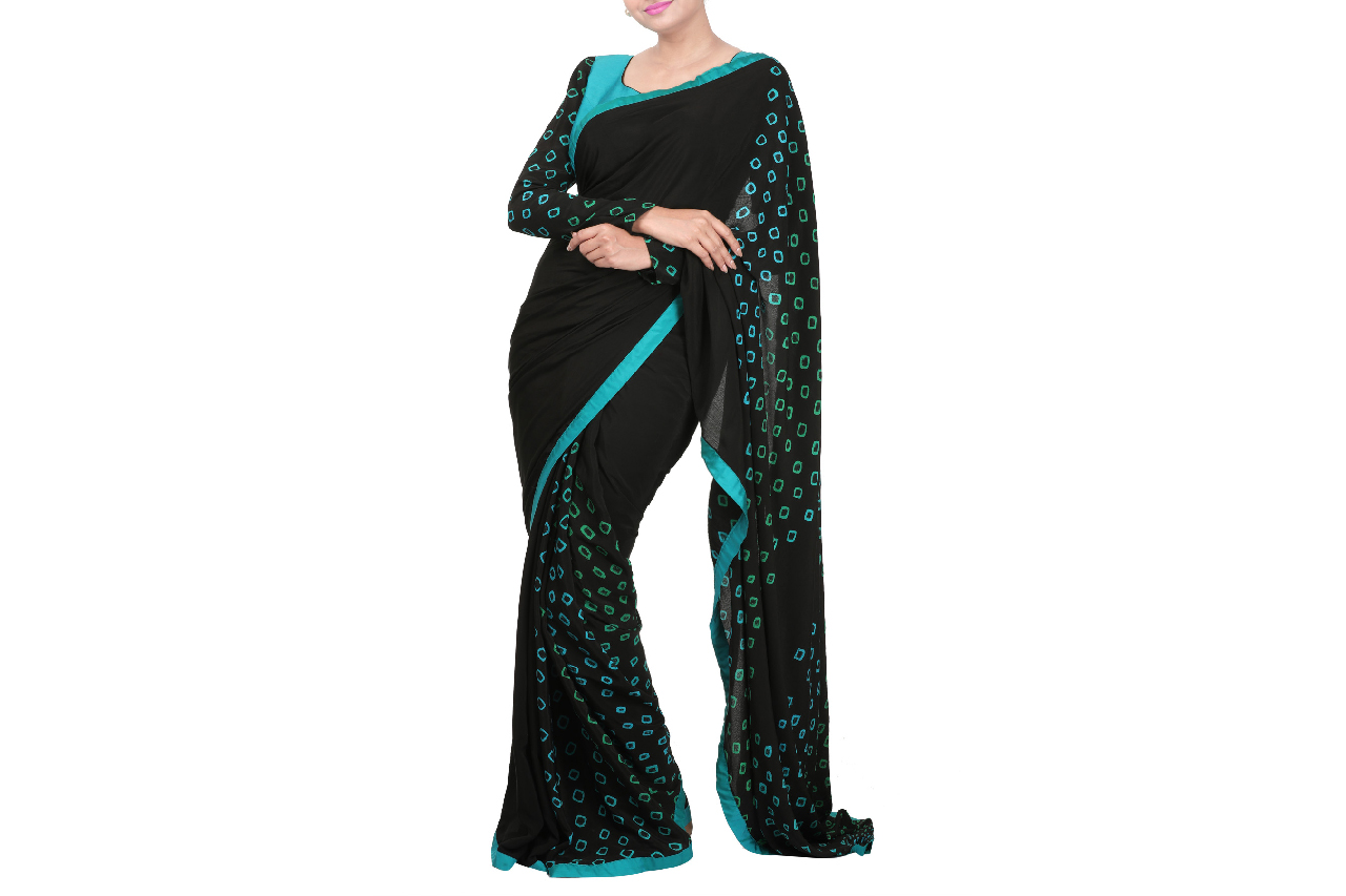 Black bandhini saree and blouse