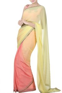 yellow & pink ombre saree