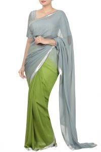 green & grey ombre saree