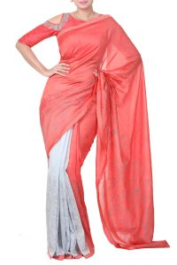 rouge pink blouse ombre saree