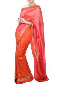 Sand beige blouse pink saree