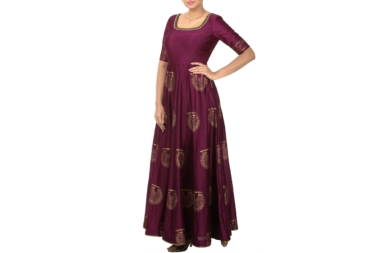 nathnis block printed anarkali