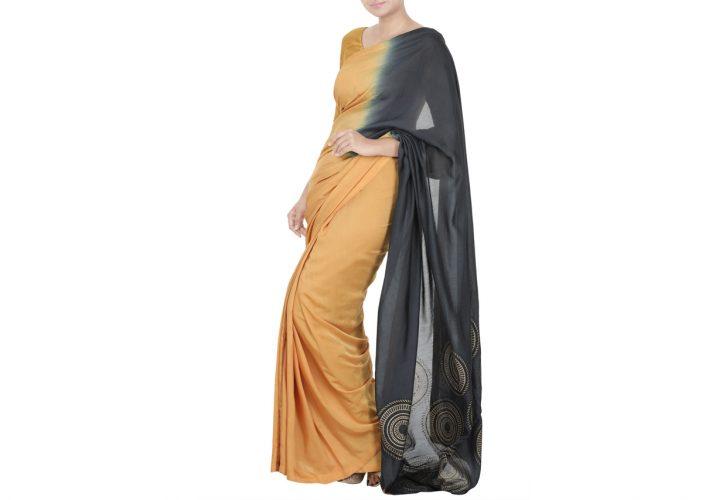 block printed double coloured saree