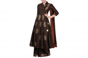 brown block print angrakha