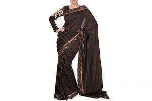 brown saree and blouse