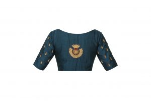 blue colour embellished blouse