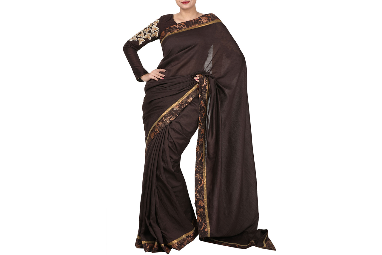 chocolate brown saree