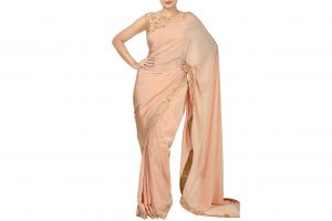 peach saree and blouse