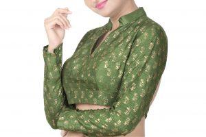 green block printed blouse