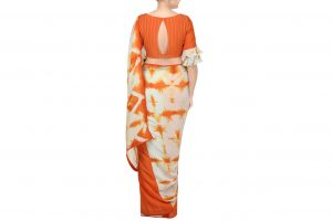 orange and grey muslin silk saree