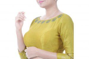 yellow block printed blouse