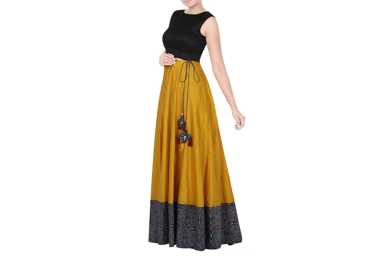 mustard yellow chanderi skirt