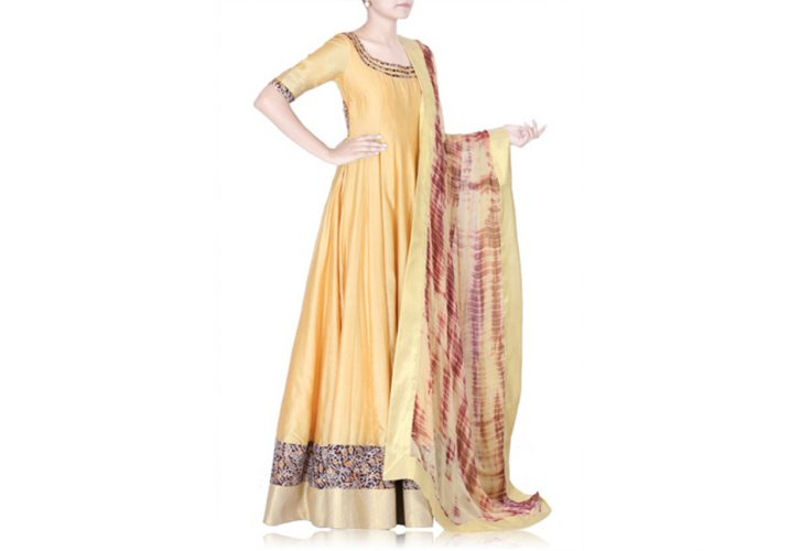 golden yellow floor length anarkali