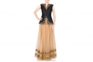 black crop top with beige lehenga
