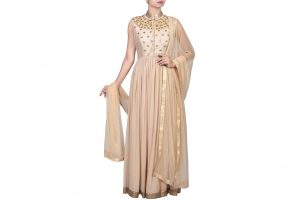 beige raw silk and georgette anarkali