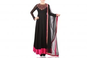 black and pink anarkali suit