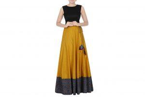 mustard yellow chanderi skirt