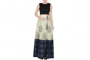 off white and blue skirt