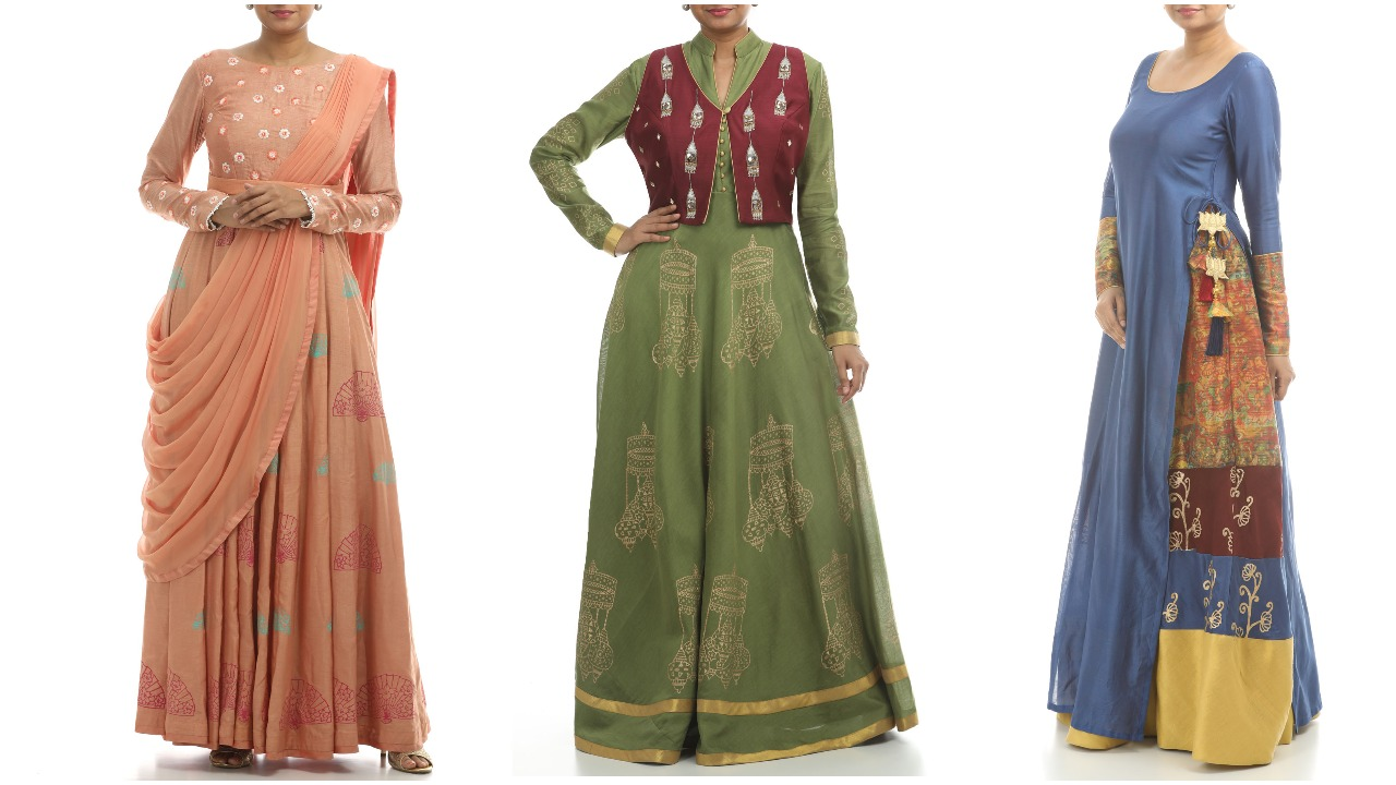 designer anarkali long dresses