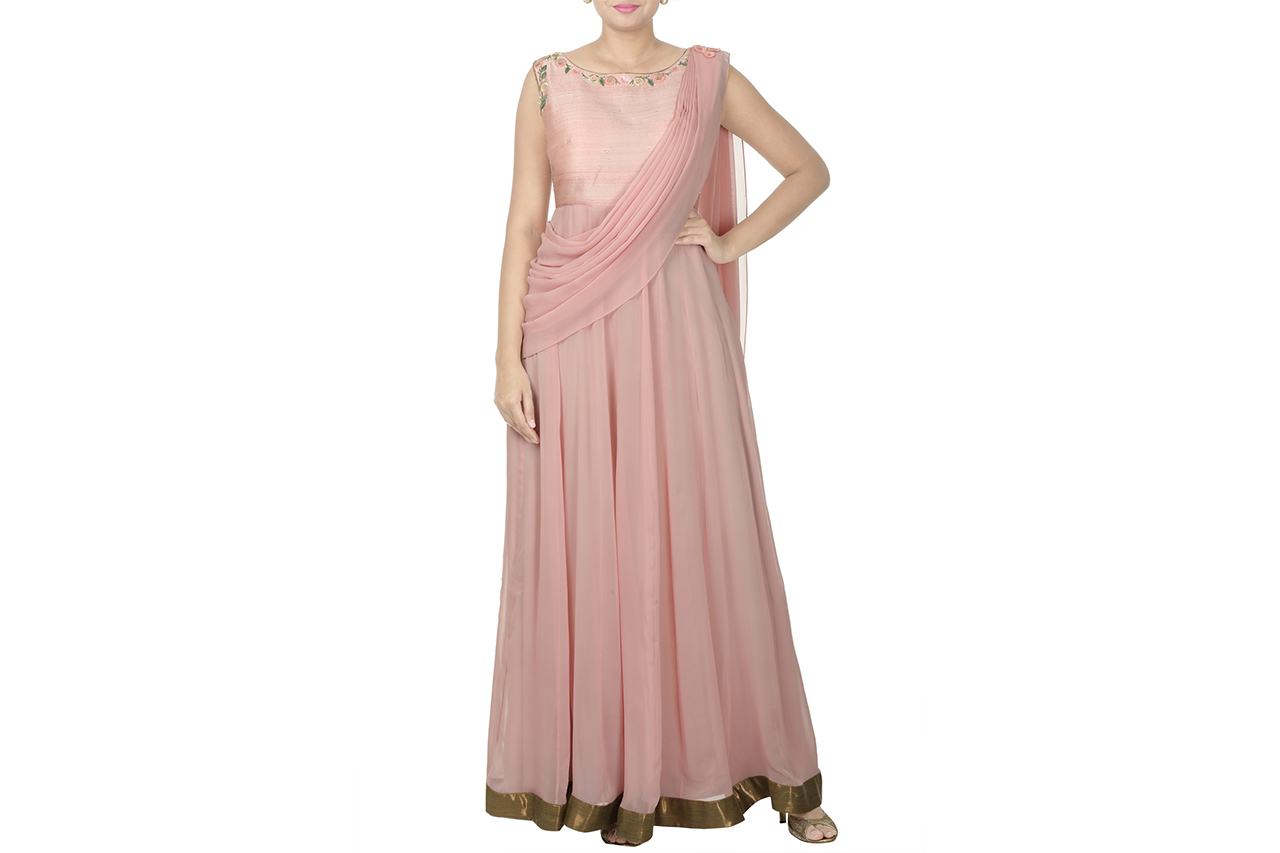 onion pink draped gown